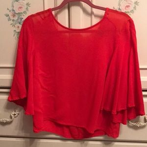 Red circle bell sleeve crop top